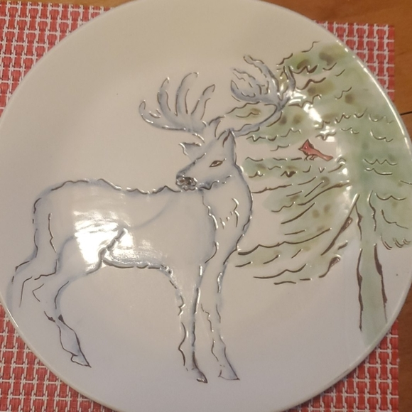 3 Pottery Barn Winter/Arctic Forest Salad Plates